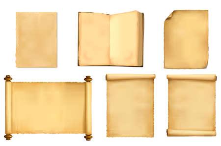 Impostare di vecchi fogli di carta. illustrazione.