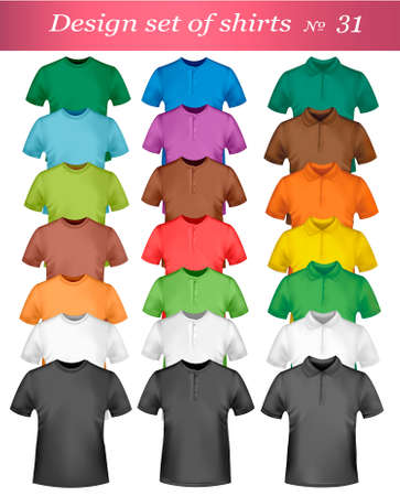 dress shirt: Black and colored t-shirts. Photo-realistic illustration.  Illustration
