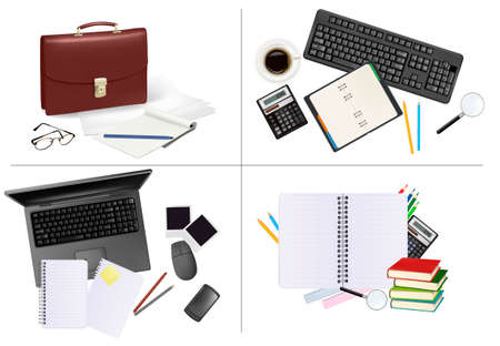 Big set of business and office supplies. Stock Vector - 8791708