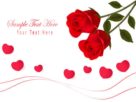 hearth: Valentine`s day card. Red roses and gift red bow. illustration.