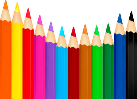 Background with color pencils Vector
