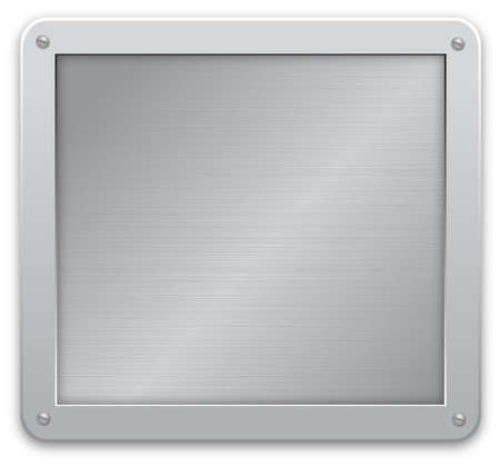 Glossy silver metallic plaque on a textured background. illustration
