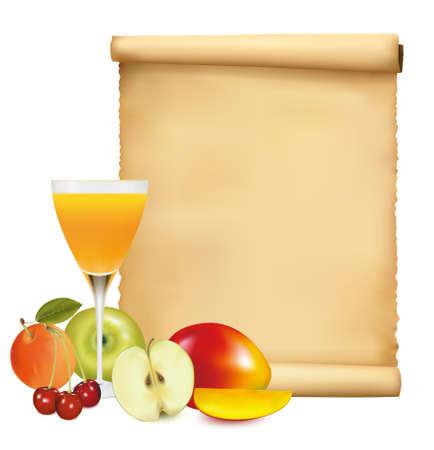 Restaurant menu template with fresh fruits Vector