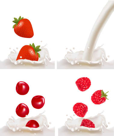 dipping: Set with red raspberry, strawberry and cherry fruits falling into the milk splash. illustration  Illustration