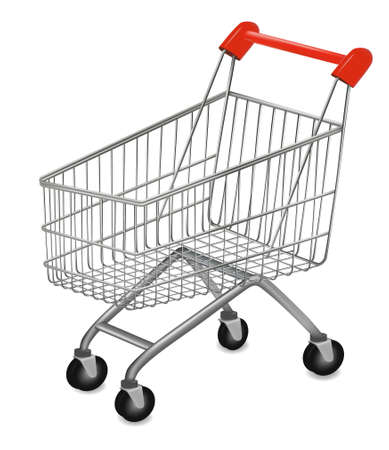chrome cart: illustration of a shopping cart on the white