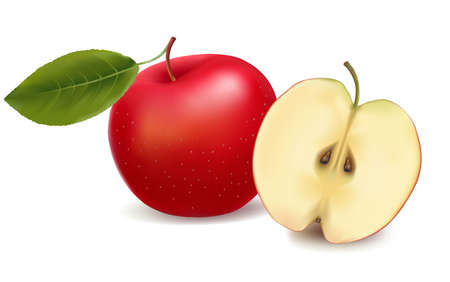 sugary: fresh red apple with green leaf . illustration.
