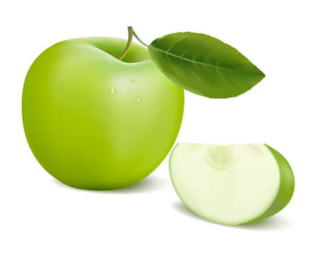 rich in vitamins: fresh green apple with green leaf . illustration.