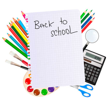 Back to school. Notepad with school supplies.