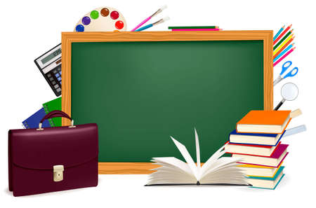 paper and pen: Back to school. Green desk with school supplies.  Illustration