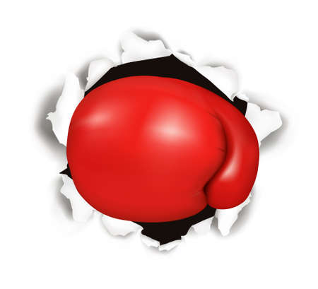 gant blanc: Gant de boxe rouge. Illustration conceptuelle.