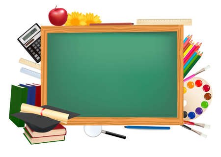 school border: Back to school. Green desk with school supplies.  Illustration