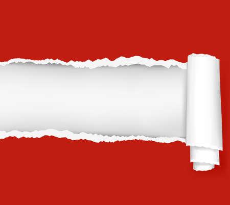 Gescheurd papier rode achtergrond. illustratie.  Vector Illustratie
