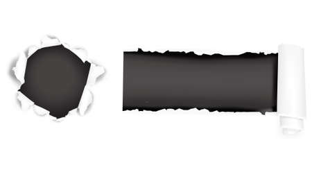 puncture: Assortment of ripped white paper against a black backgrounds. illustration.