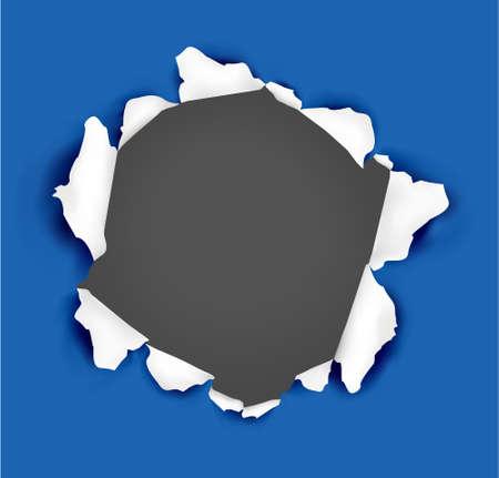 Blau Papierhintergrund gerissen. Abbildung.