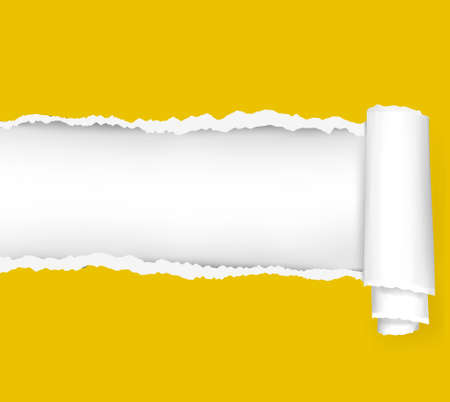 paper graphic: Ripped yellow paper background. illustration.