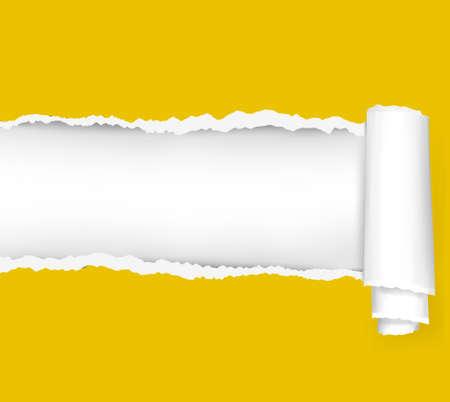 cartone strappato: Strappato sfondo giallo carta. illustrazione.