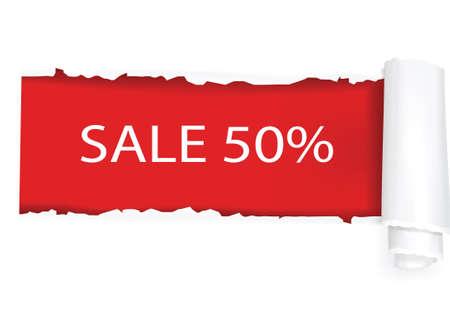 deterioration: A 50% sale background design. illustration.  Illustration