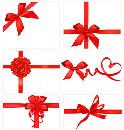 fragility: Big collection of red gift bows.  Illustration