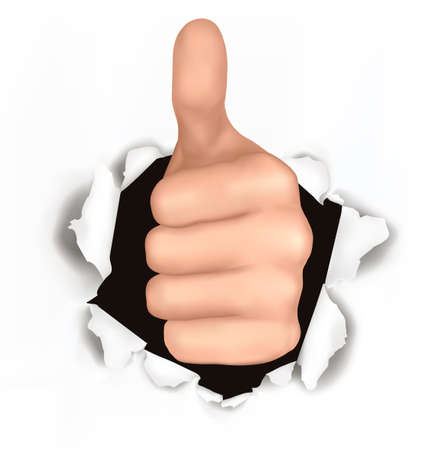 Conceptual illustration of thumb up. Hand with thumb up has broken through a paper  Vector