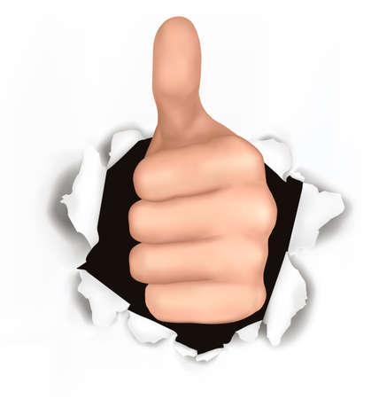 triunfador: Ilustraci�n conceptual de pulgar arriba. Ha roto la mano con el pulgar arriba a trav�s de un documento