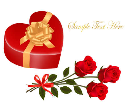 Valentine`s day card. Three Beautiful red roses and gift box with gold bow.  Vector