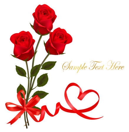 red head: Valentine`s day card. Beauty red rose with bow and ribbons. Illustration