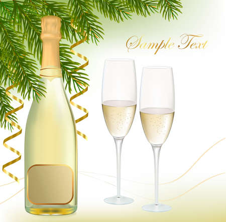 illustration. Two glasses of champagne and bottle. Vector