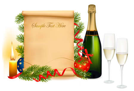 Background with two glasses of champagne and old paper. Vector
