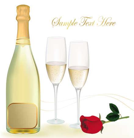 bollicine champagne: illustrazione. Due bicchieri di champagne e la bottiglia.