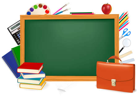 Back to school. Green desk with school supplies.  Vector