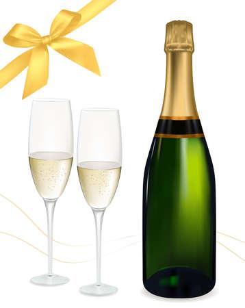 bollicine champagne:  illustrazione. Due bicchieri di champagne e la bottiglia. Vettoriali