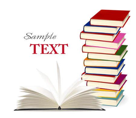 脊椎: カラフルな書籍のスタック。イラスト。  イラスト・ベクター素材