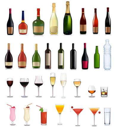 alcoholismo:  Conjunto de diferentes bebidas y c�cteles. ilustraci�n.