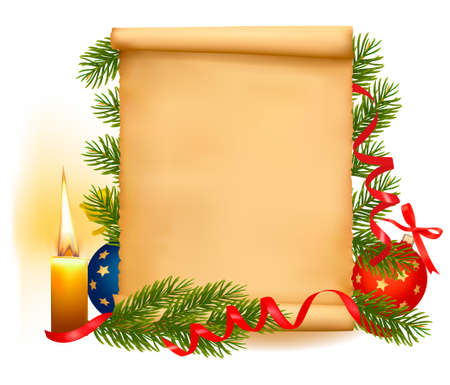 Christmas decorations on the old paper with christmas tree and candle.  Vector