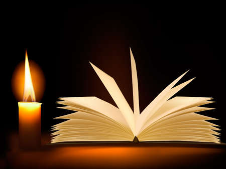 testaments: Old book and a candle.  Illustration