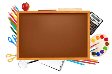 Brown board with school supplies.