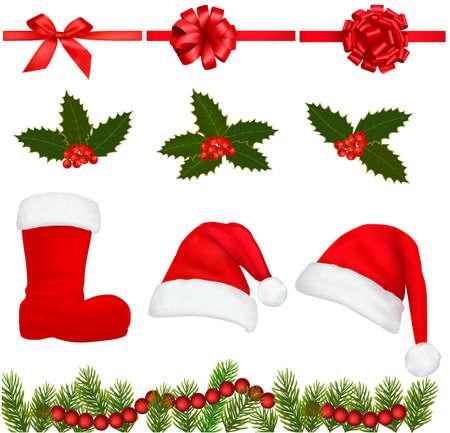 hat santa: Set of Christmas objects.  Illustration