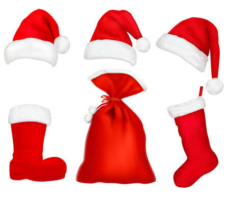 stockings: Three red santa hats. Christmas stocking and boot and bag. illustration.