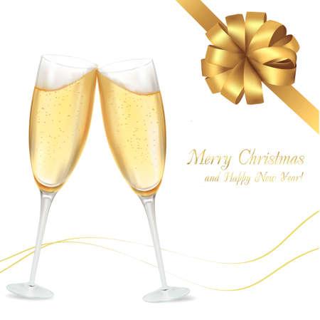 bollicine champagne: illustrazione. Due bicchieri di champagne.