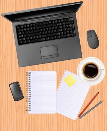 Notebook, telefono e forniture per ufficio, posa sul tavolo.