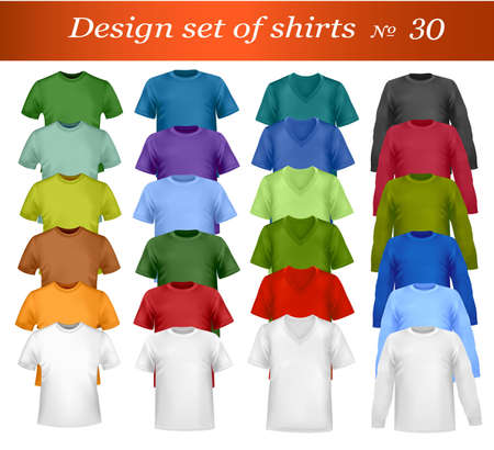 dress shirt: White and colored men and women polo and t-shirts. Photo-realistic illustration.  Illustration