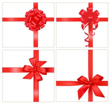 red ribbon bow: Collection of red gift bows with ribbons.