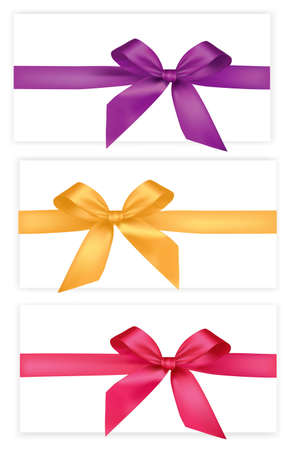 Collection of colored bows with ribbons.