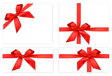 Collection of red gift bows with ribbons. Stock Vector - 8792020