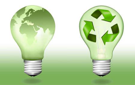 Two ecologic light bulbs. Stock Vector - 8792033