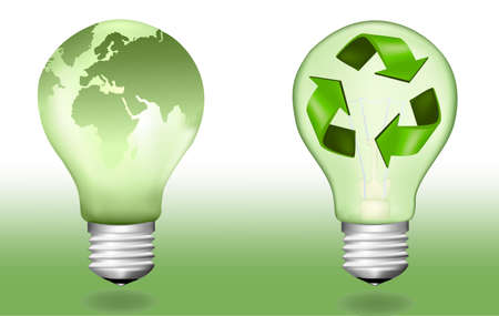 save the earth: Two ecologic light bulbs.  Illustration