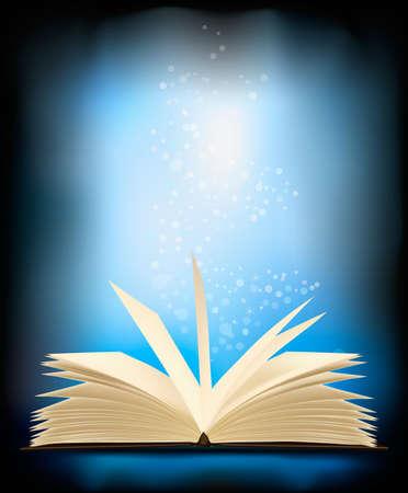 copertina libro antico: Apr� il libro magico con luce magica. illustrazione. Vettoriali