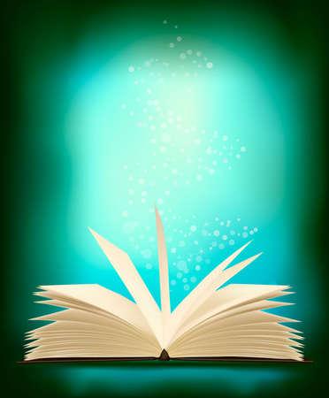 Opened magic book with magic light. illustration.