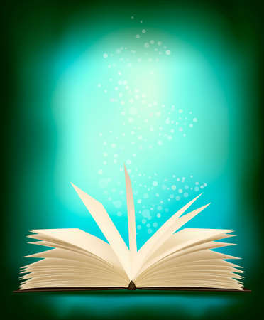Opened magic book with magic light. illustration. Vector