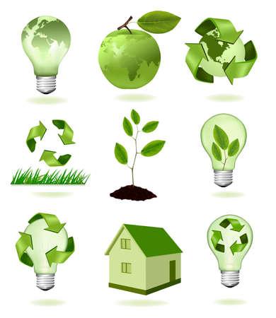 planeta verde: Manzana verde con el mapa del mundo y gran conjunto de iconos de ecolog�a.  Vectores